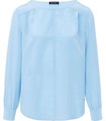 blouse van 100% zijde met lange mouwen van basler blauw