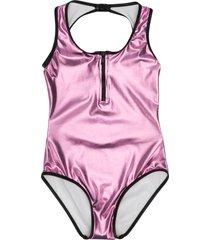 andorine zipper detail metallic-tone swimsuit - pink