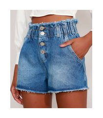 short clochard jeans cintura super alta desfiado azul médio
