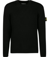 stone island stripe pattern logo patched knit sweater