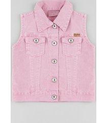 colete de sarja infantil com bolsos rosa