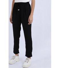 calça de pijama feminina reta com cordão preta