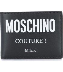 moschino logo-print folding wallet - black