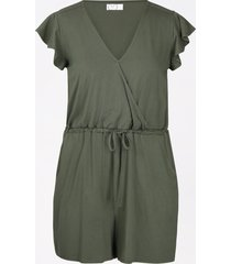 maurices womens olive v neck flutter sleeve romper green
