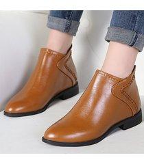 stivali da donna alla caviglia con punta a punta e cucitura a punta