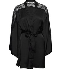 kimono satin lace sleeve insert morgonrock svart hunkemöller