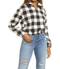 women's bp. print fleece pullover, size x-large - black