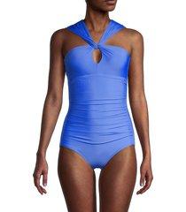 calvin klein women's asymmetrical 1-piece swimsuit - azure - size 10