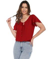 blusa manga corta en bolero roja mítica