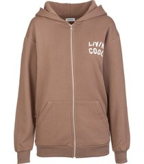 livincool woman brown hoodie with zip and logo printed front and back