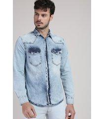 camisa jeans masculina slim com bolsos manga longa azul claro