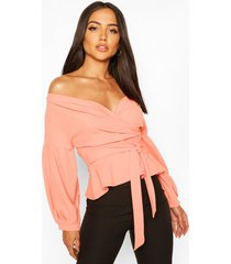 off the shoulder wrap top, peach