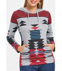 casual geometric pattern long sleeves women's hoodie