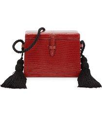 hunting season women's mini square trunk lizard leather crossbody bag - brick red