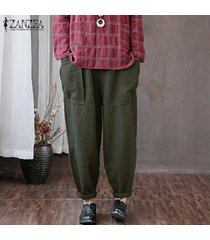zanzea mujeres de cintura alta sólidos básicos pierna recta pantalons pantalones pantalones -verde