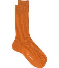 mackintosh mid-calf ribbed knit socks - orange