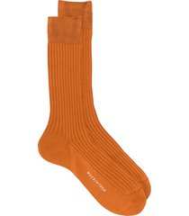 mackintosh mid-calf ribbed knit socks - orange