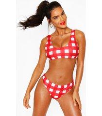 gingham crop high leg bikini, red