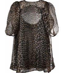 ganni puff-sleeves leopard-print dress