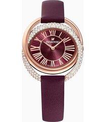 orologio duo, cinturino in pelle, rosso scuro, pvd oro rosa