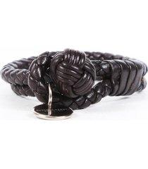 bottega veneta small brown intrecciato leather knot bracelet brown sz: s