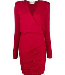 alexandre vauthier fitted wrap dress - red