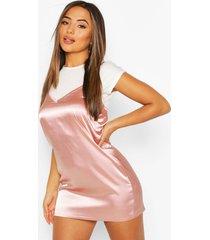 petite 2-in-1 satin slip dress, blush