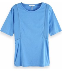 maison scotch 150158 2820 jersey top with woven panels and ladder tape blauw
