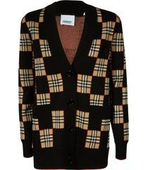 burberry checked cardigan