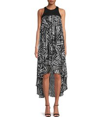 toccin women's fly-away printed high-low dress - jet - size 6
