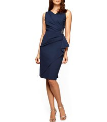 women's alex evenings side ruched dress, size 2 - blue