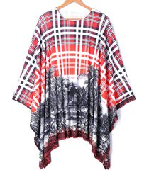 asymmetrical batwing sleeve plaid printed blouse