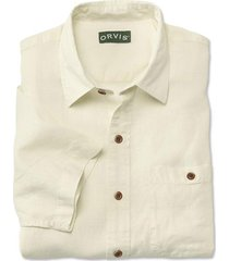 hemp/tencel short-sleeved shirt / regular, antique white, xx large