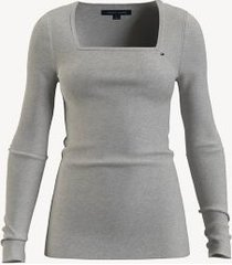 tommy hilfiger essential solid square-neck sweater light grey heather - xxl