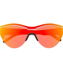 balenciaga eyewear reflective round-frame sunglasses - orange