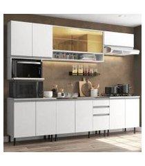 cozinha completa madesa genova com armário e balcão (sem tampo, pia e rodapé) branco branco