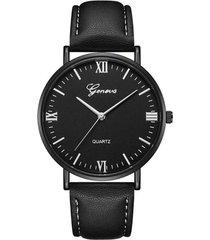 reloj pulso cuero pu cuarzo dial grande clasico gnv-m negro