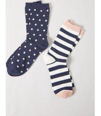 lane bryant women's crew socks 2-pack - dotted & striped onesz club navy