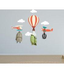 adesivo de parede balã£o aviã£o helicã³ptero 7un com 3 ganchos - multicolorido - menino - dafiti
