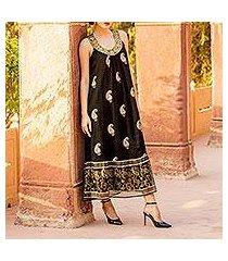 viscose shift dress, 'paisley glitz' (india)
