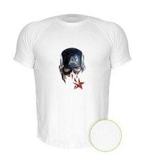 camiseta air nerderia e lojaria capitao america geometrico branca
