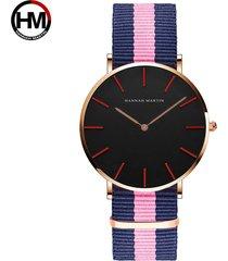 relojes de cuarzo de nylon para hombres y mujeres-rosa