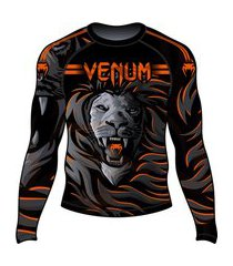 rash guard venum lion fire preto e laranja .