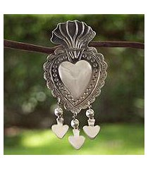 sterling silver brooch pin pendant, 'gypsy heart' (mexico)
