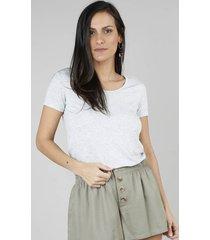 blusa feminina básica decote redondo manga curta cinza mescla claro