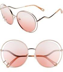 women's chloe wendy 59mm round sunglasses - rose gold/ gradient rose