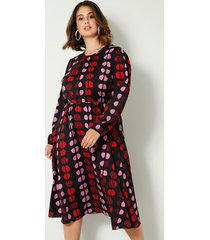 jurk sara lindholm zwart::rood::pink