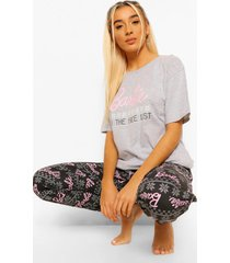 barbie on the nice list shirt met korte mouwen en joggingbroek pyjama set, grey