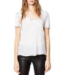 women's zadig & voltaire 'tino' foil accent tee, size medium - white