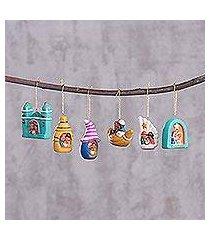 ceramic ornaments, 'andean festivities' (set of 6) (peru)